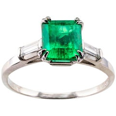 Emerald-Cut Emerald Diamond Platinum Ring
