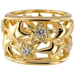 Jose Hess Diamond Gold Star Ring Band
