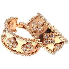 Van Cleef & Arpels Perlee Clovers Diamond Rose Gold Hoop Earrings