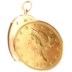Gubelin US $10 Liberty Gold Coin Manual Wind Pocket Watch Pendant