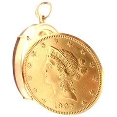 Gubelin US $10 Liberty Gold Coin Manual Wind Pocket Watch Pendant