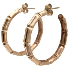 Authentic 1970s Rose Gold Classic Vintage Bamboo Hoop Earrings