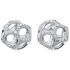 Towe Norlen Contemporary Round White Diamond and Gold Earrings Stud