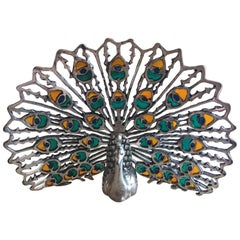 Silver Peacock with Nice Glass Enamel Color, circa 1960
