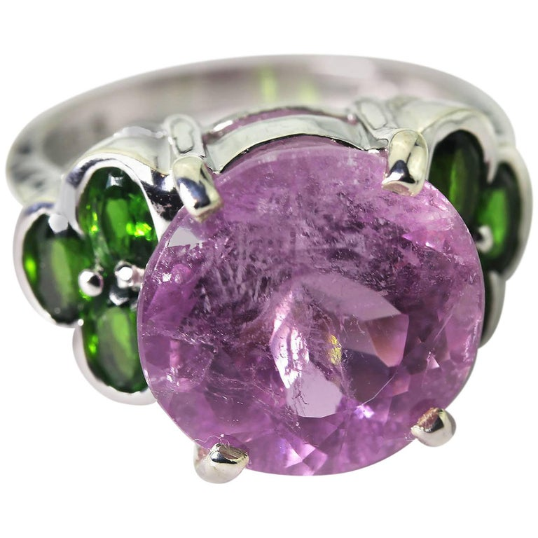 11.82 Carat Sparkling Pink Kunzite + Chrome Diopside Sterling Silver Party Ring