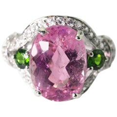 9.25 Carat Pink Kunzite, Chrome Dioxide and Zircon Sterling Silver Party  Ring