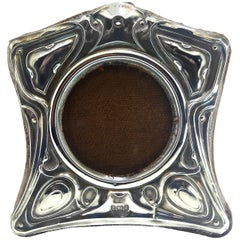 English Art Nouveau Sterling Silver Frame, circa 1905