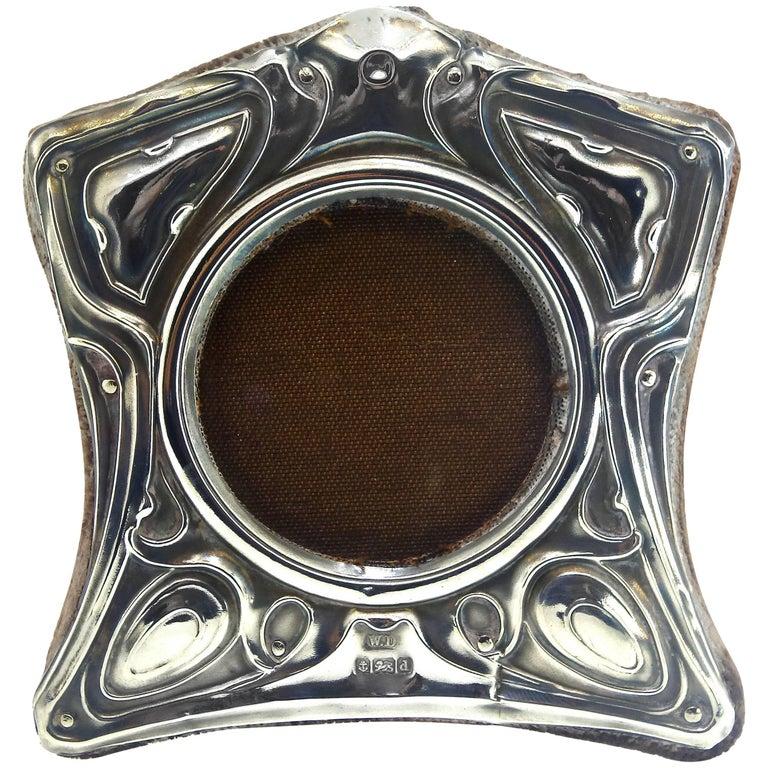 English Art Nouveau Sterling Silver Frame, circa 1905 For Sale
