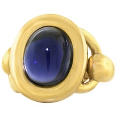 Poirey 8.0 Carat Iolite Set Gold Ring