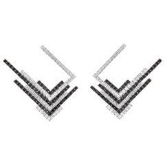 Sophie Birgitt Diamond Geometric Art Nouveau Gold Earrings