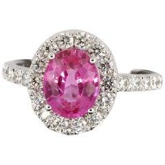 Certified Unheated 2.28 Carat Oval Pink Sapphire Diamond Gold 18 Karat Ring