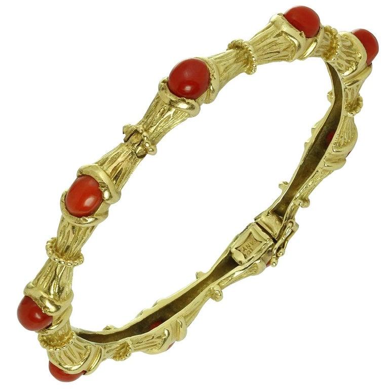 Tiffany & Co. Oxblood Coral Gold Bamboo 1960s Bangle Bracelet