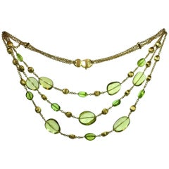 Marco Bicego Confetti Citrine Peridot Yellow Gold Multistrand Necklace
