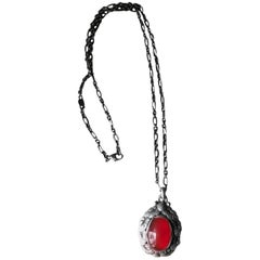 Georg Jensen Sterling Silver and Carnelian Necklace No. 56