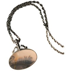Royal Copenhagen Sterling Silver and Landscape Agate Necklace