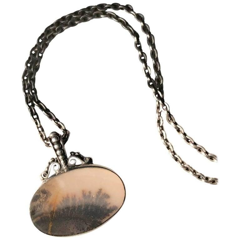 Royal Copenhagen Sterling Silver and Landscape Agate Necklace