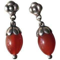 Georg Jensen Sterling Silver and Carnelian Earrings, No. 4