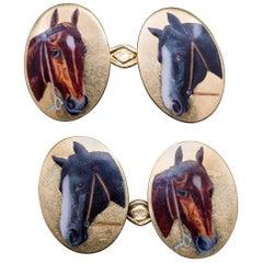 Edwardian Equestrian Enamel Gold Horse Cufflinks