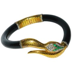 Victorian 15 Karat Handmade Diamond and Emerald Hinged Serpent Bracelet
