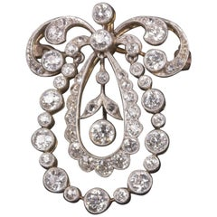 Belle Epoque Edwardian Diamond Brooch Pendant 5.25 Carat