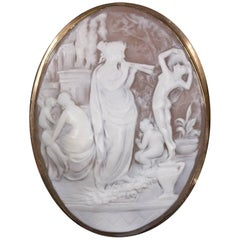 Classical Shell Cameo Brooch Pin Signed