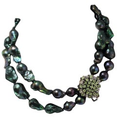 Peridot and Diamonds Clasp, Green Pearl Beaded Necklace