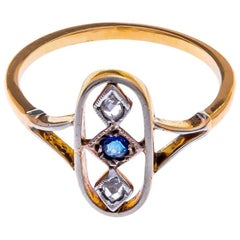 Art Deco 18 Carat Gold Sapphire and Diamond Ring