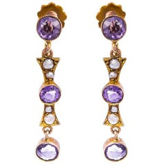 Victorian 9 Carat Gold Amethyst and Split Pearl Earrings
