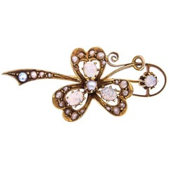 Edwardian 18 Carat Gold Opal and Split Pearl Brooch