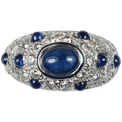 French Sapphire Diamond Bombe Gold Ring, circa 1950