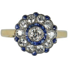 Edwardian Diamond Sapphire Cluster Ring, circa 1905