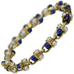 Gucci Lapis Lazuli, Pearl, Gold Bracelet, circa 1970