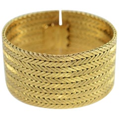 Kutchinsky Herringbone Gold Cuff Bracelet, 1967
