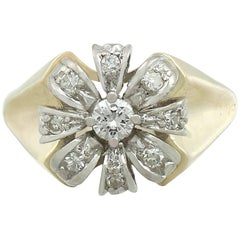 1950s 0.41 Carat Diamond 14 Karat Yellow Gold Cluster Ring