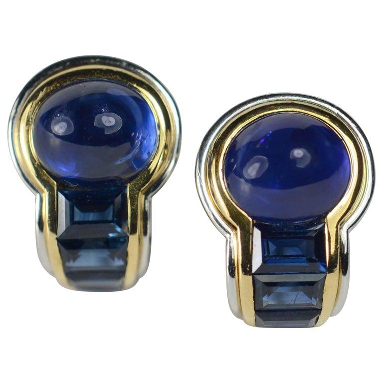 1980s Hemmerle Blue Sapphire Platinum Gold Earrings