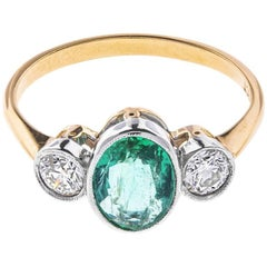 1.10 Carat Emerald and 0.50 Carat Diamond Trilogy Ring