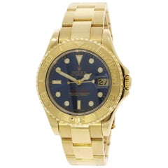 Rolex Yellow Gold Yachtmaster Blue Dial Wristwatch Ref 168628, 2001