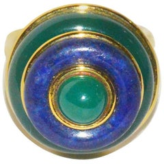 Tiffany & Co. 1970s  Lapis Lazuli Chrysoprase Gold Ring