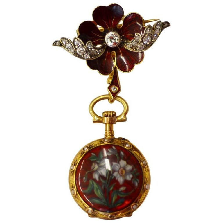 Victorian Yellow Gold Sterling Silver Diamond Enamel Fob Watch, circa 1880