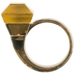 18 Karat Yellow Gold Gucci Chiodo Ring with Citrine
