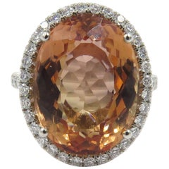 Precious Topaz Diamond Platinum Ring