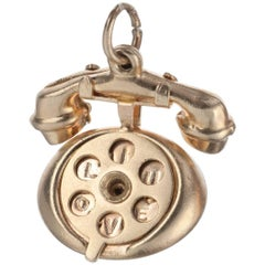 Rotary Telephone Charm in 14 Karat Yellow Gold