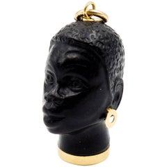 Italian Serene Faced Gold Blackamoor Pendant