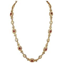 Harry Winston Diamond and Ruby Necklace
