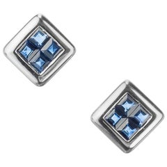 Invisible Set Sapphire Stud Earrings in 18 Karat White Gold