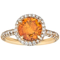 GIA Report 2.34 Carat Fancy Deep Orange Diamond Ring