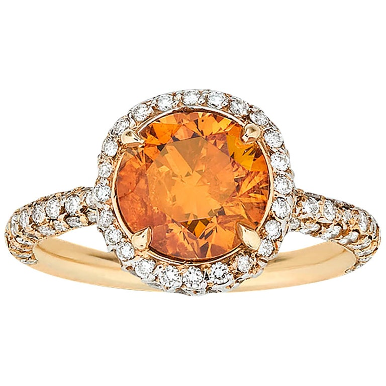 GIA Report 2.34 Carat Fancy Deep Orange Diamond Ring 1