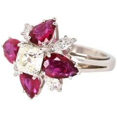 Platinum Ruby and Diamond Ring, circa 1960s