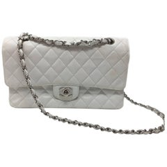 Chanel Classic Double Flap Bag Caviar White Quilted Leather Medium
