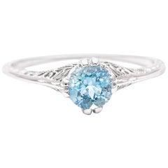 Art Deco Aquamarine Solitaire Filigree Ring in 18 Karat White Gold